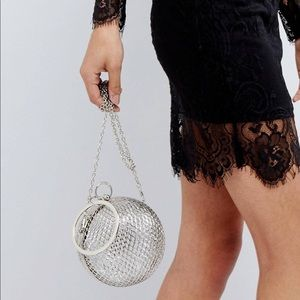 ✨ ASOS Caged Sphere Clutch Bag in Silver NWT ✨